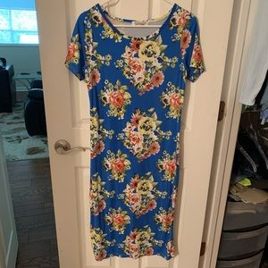 Sign Here Blue Floral Midi Dress